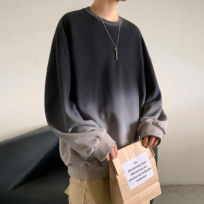 Harajuku Oversized Hoodie Men Crewneck Sweatshirt Streetwear Hip Hop Gradient Autumn Casual Sport Men Clothes