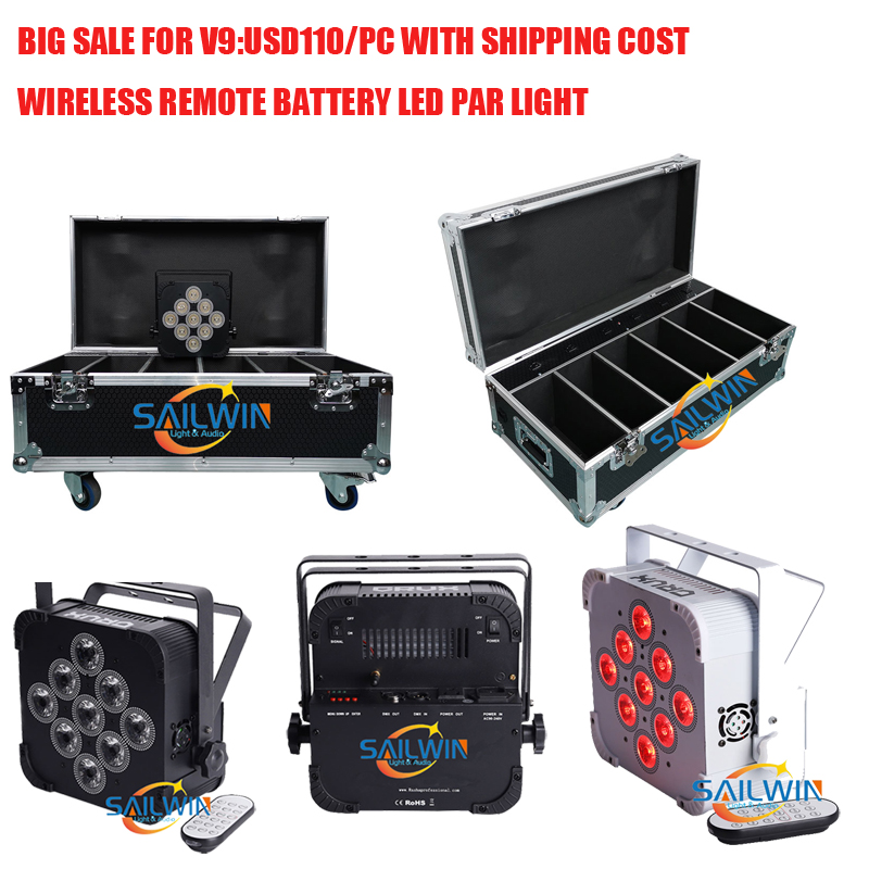 BIG SALE 9pcs*18W 6in1 RGBAW+ UV Battery Powered Wireless DMX LED PAR Light DJ Stage Lighting LED UPLIGHT