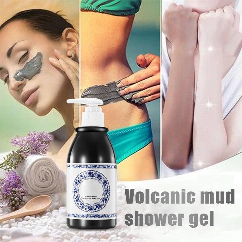 venda quente vulcanica lama chuveiro gel corpo rejuvenescimento da pele esfoliante limpeza hidratante