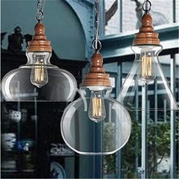 Glass Dining Room Pendant Lamps Retro Bedroom Lamp Free Shipping Contracted Wooden Wood Grain Crystal Modern Home LED Bulbs Iron modern home decoration black white dining room iron pendant lamp bird cage coffee shop lamp bar lamp free shipping led bulbs e27