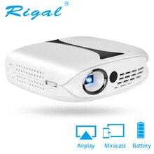 Rigal RD606 ミニプロジェクターオプションのhd無線lanアンドロイド 7.1 ポケットピコled dlpプロジェクターバッテリーサポート 1080p 3D電話usbビーマー