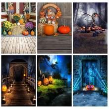 Grange citrouille fête Halloween décors vinyle tissu pour photographie Fond Studio Photo tir Photocall arrière-plan