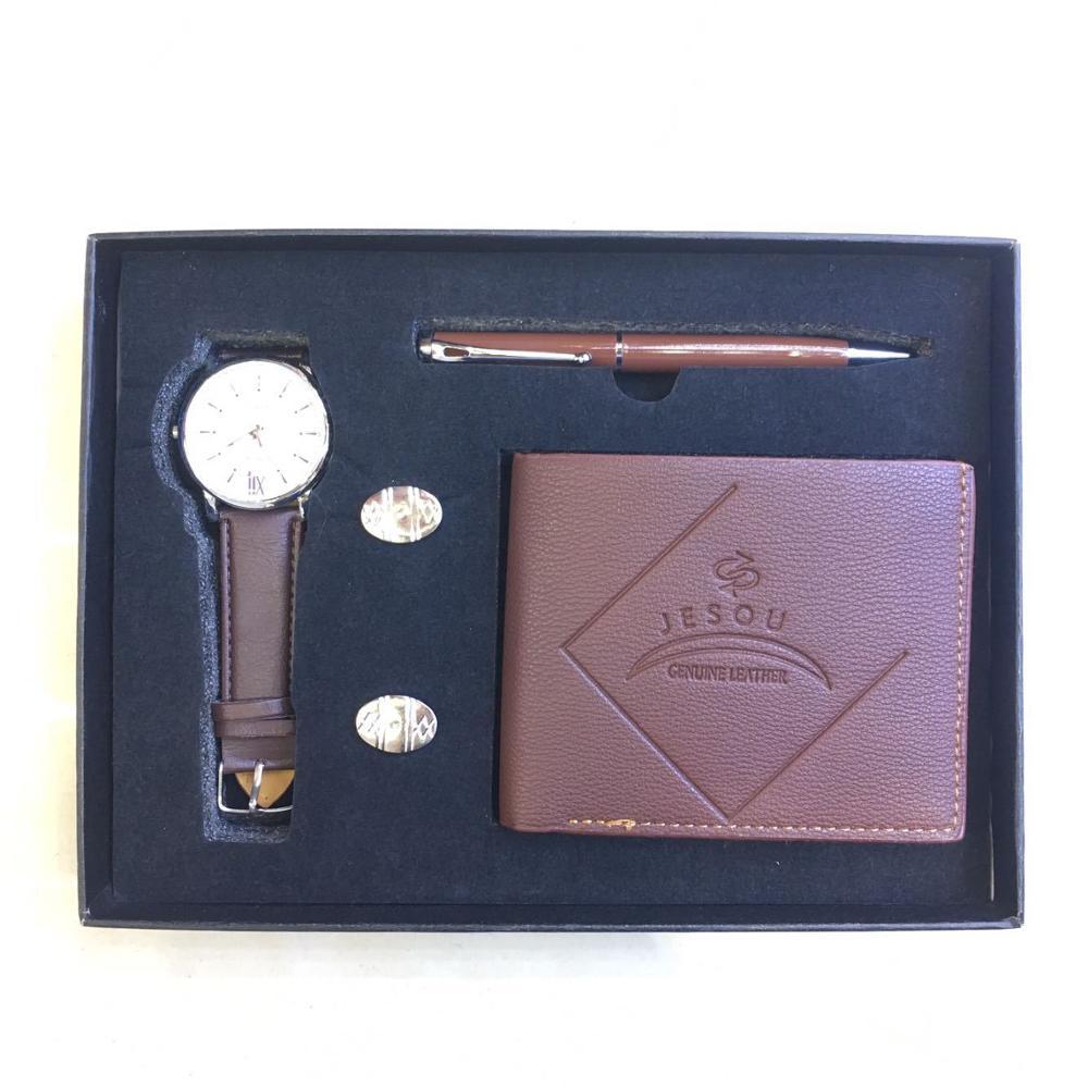 Часы подарочный набор коробка Для мужчин кошелек запонки Ручка часы Для мужчин кварцевые часы от топ бренда кварцевые наручные часы со