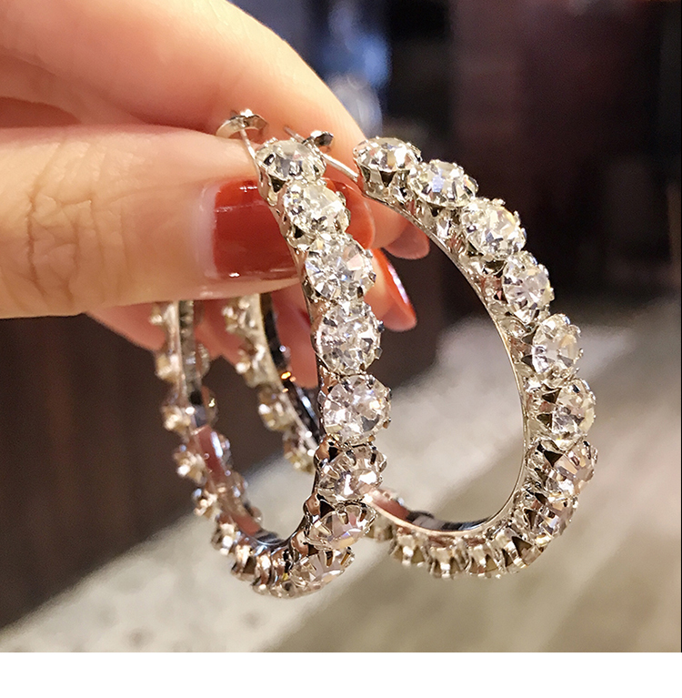 Luxury Female Big White Round Hoop Earrings Fashion Gold Color Color Wedding Earrings Double Zircon Stone Earrings For Women
