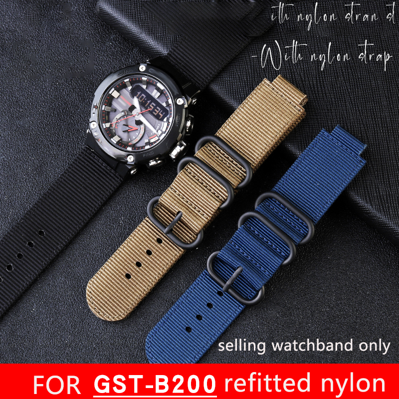 24 * 16mm Modified Nylon Strap For Gst-b200 Series Special Watch Chain Outdoor Sweat Proof Nylon Wrist Strap