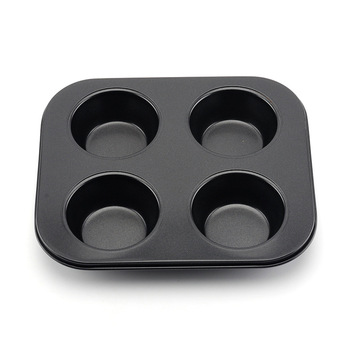AIWILL 4-Piece Non-Stick Black Cake Mold Carbon Steel DIY Muffin Cup Kitchen Baking Tools image