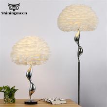 Nordic หรูหราขนนกสีขาวโคมไฟ LED โมเดิร์นโลหะดอกไม้ยืนโคมไฟห้องนั่งเล่น Princess Room Decor ชั้น LIGHT