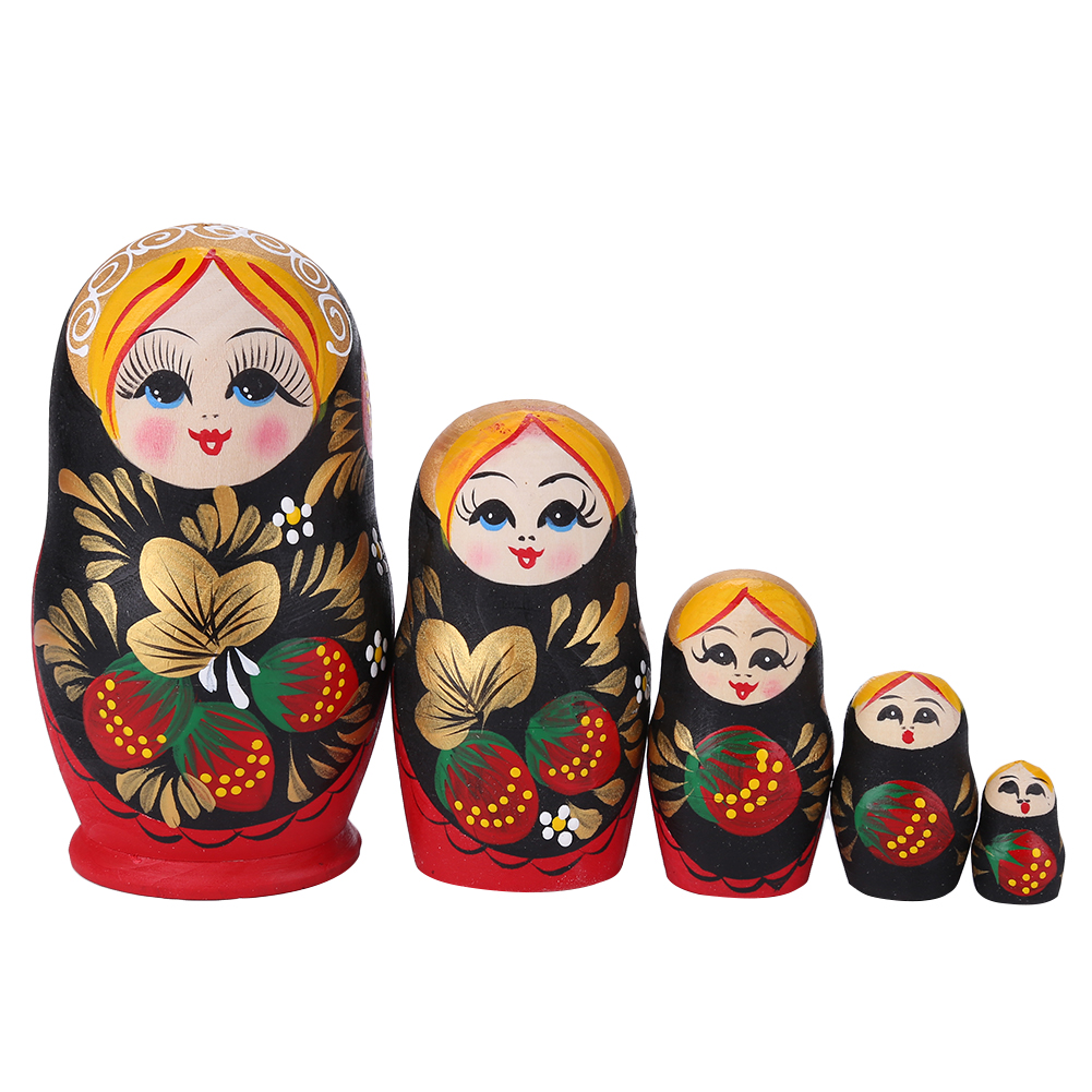 Muñecas anidadas Matrioska rusas para niñas y bebés, Muñecas de madera de 5 capas con estampado de fresa