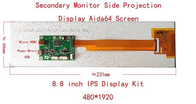 8.8 pollici Lunga Striscia HSD088 HDMI A MIPI 1920*480 Secondo Monitor Caso Aida64 Display CPU GPU Informazioni Sub display