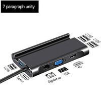 Adaptador Hub compatible con HDMI, estación de acoplamiento USB 3,0, HDMI, VGA, RJ45, PD, para portátil, Macbook Pro