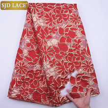 SJD LACE Red Gilding African Lace Fabric 2020 High Quality Latest Embroiderey French Lace Fabric For Wedding Party Dress A1846