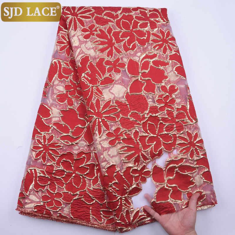 Sjd Ren Pháp Xanh Châu Phi Phối Ren Cao Cấp Embroiderey Viền Chỉ Vàng Nigeria Phối Ren Cho Hôn Lễ Hội A1846