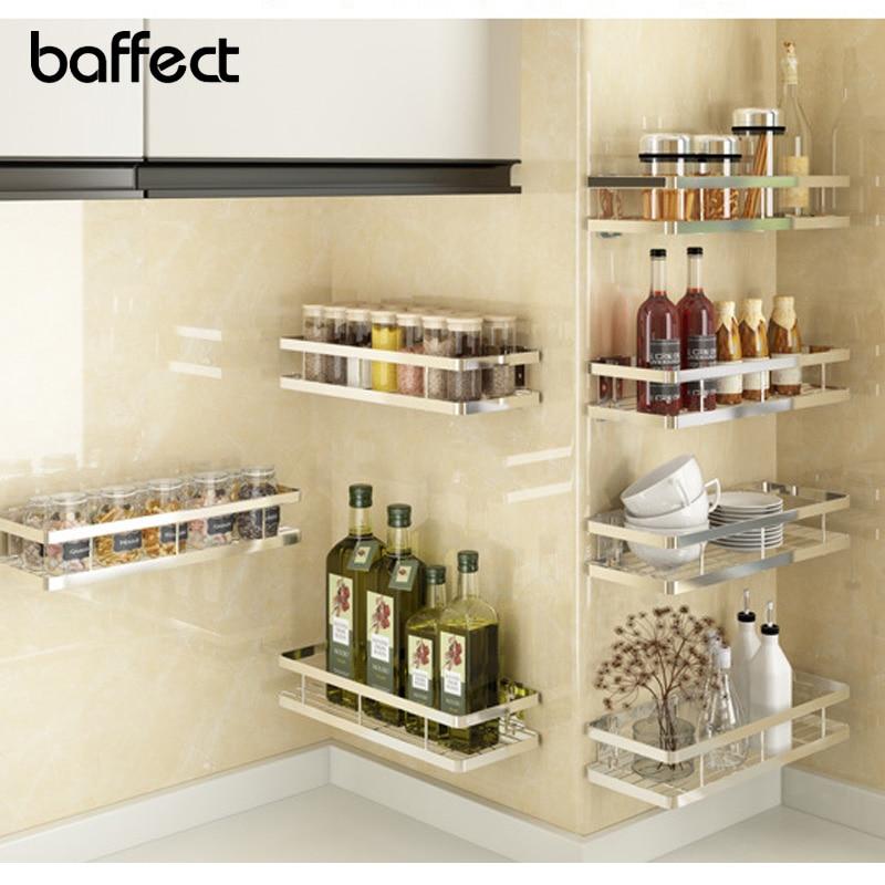 Baffect Kitchen Shelf For Storage Organizer Wall Shelf Spice Rack Punch Free Stainless Steel Storage Shelves Rack For Kitchen