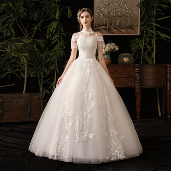 Vestido De Noiva Elegant High Neck Wedding Dress Short Sleeve Wedding Gowns Lace Embroidery Floor-length Princess Bride Dress
