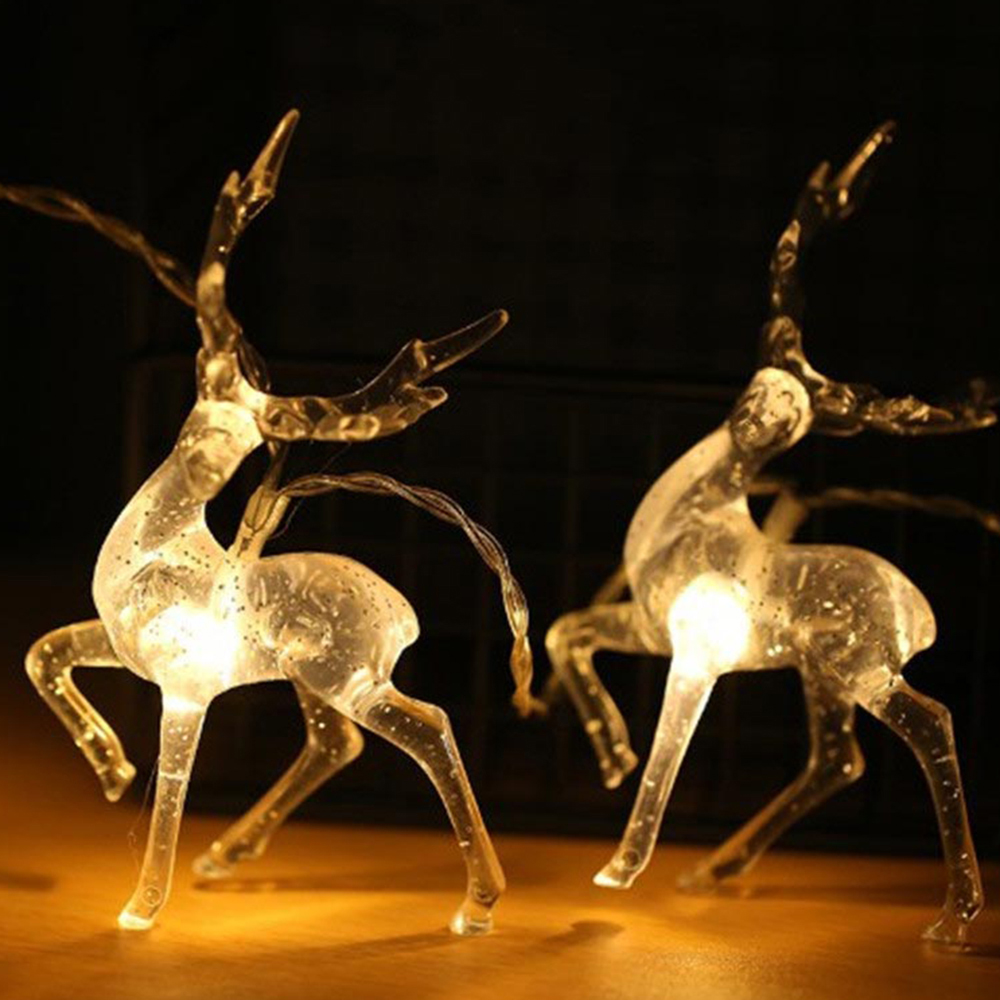 Christmas Deer LED String Light 10LED 20LED Battery Operated Reindeer Indoor Decoration For Home Holiday Outdoor Xmas Party