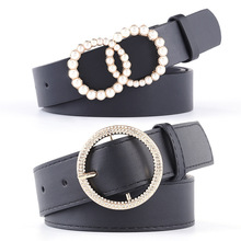 Lady Belt Jeans Buckle-Accessories Rhinestone Black Woman Fashion Solid Pu for Pearl