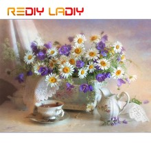DIY Beaded Embroidery Kits White Daisy Vase Needlework High Quality Beads Partial Crystal Beaded Cross Stitch Hobby & Crafts(China)