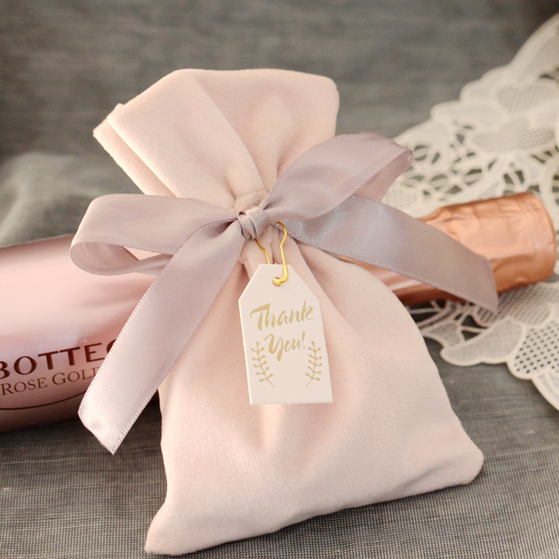 Velvet Bag Luxury Jewelry Packaging Drawstring Pouch Makeup Lipstick Necklace Wedding Party Gift Bags Baby Pink Beaded Pouches