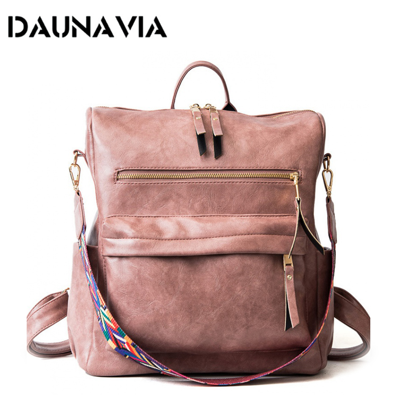 Retro Large Backpack For Women PU Leather Rucksack Women's Knapsack Travel Backpacks Shoulder School Bags Mochila Back Pack