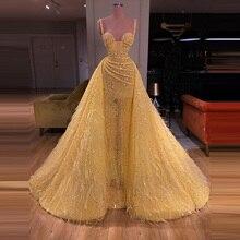 Vestidos brillantes FIESTA DE PROMOCIÓN en amarillo, línea A con borlas, lentejuelas, Sexy ilusión, tirantes finos, Bling mujeres, vestidos formales