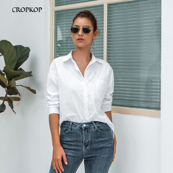 Spring One Pocket Women White Shirt Female Blouse Tops Long Sleeve Casual Turn-down Collar OL Style Women Loose Blouses 2020 1