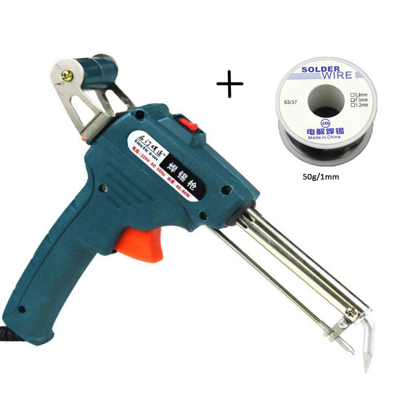 220V 60W EU/US Automatic Welding Torches Green Send Tin Gun Desoldering Pump Welding Tool Get Free 50g 1.0mm Welding Wire
