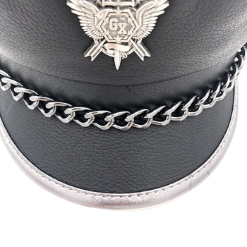 Novelty Winter Men's Genuine Leather Hat Male Flat Top Badge Locomotive Retro Military Caps Students Punk Cortical Chain Gorra 5