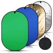 Disco Reflector portátil plegable ovalado 4 en 1, 150x200cm, pantalla de fondo azul, verde, negro y blanco, Panel cromakey para fotografía