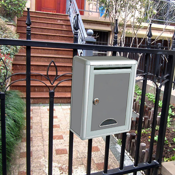 Metal Mailbox Outdoor Security Locking Mailbox Letter Box Suggestion Box Newspaper Mail Letter Post Home Balcony Garden Decor