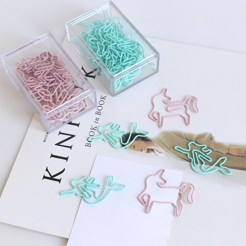 20pcs/box Light Green Pink Paper Cilp Unicorn Mermaid Shaped Paper Clips Great For DIY Paper Clip Collector Office School Gift