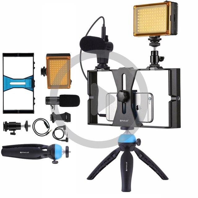 PULUZ Vlogging שידור חי LED Selfie אור Smartphone וידאו Rig ערכות עם מיקרופון קר נעל חצובה הר אביזרים