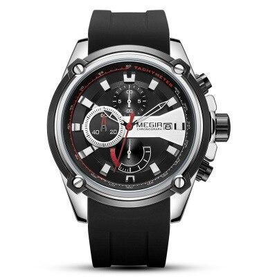 Top Brand Luxury Sport MEGIR Men Watch Chronograph Waterproof Male Clock Rubber Military Army Wristwatch