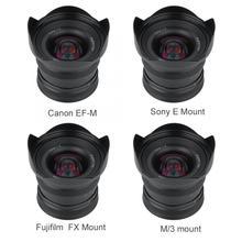 Brightin Star lente de enfoque Manual de Metal de 12mm f2.0 Super gran angular para Sony E, montaje Canon APS C Fuji, montaje FX, sin espejo