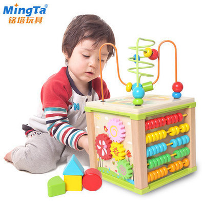 Ming Tower Children Bead-stringing Toy Toy Multi-functional Large Bead-stringing Toy Beaded Bracelet Treasure Chest Wooden Child