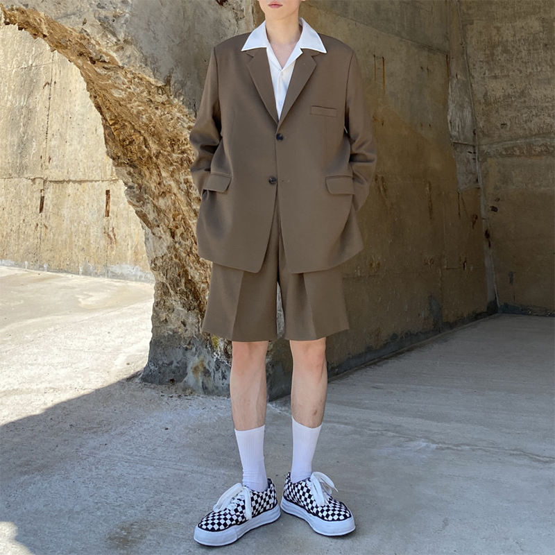 <font><b>Men</b></font> 2 Pieces <font><b>Suits</b></font> Sets Jacket+<font><b>shorts</b></font> Vintage Fashion Causal Blazers Jacket Male Japan Korea Streetwear Loose <font><b>Suits</b></font> image