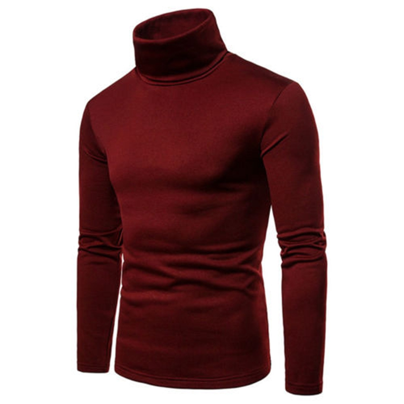 Mens Solid Thermal Cotton Turtle Neck Turtleneck Sweaters Stretch T-Shirt Tops High Collar Skivvy Turtle Neck Slim Fit Top
