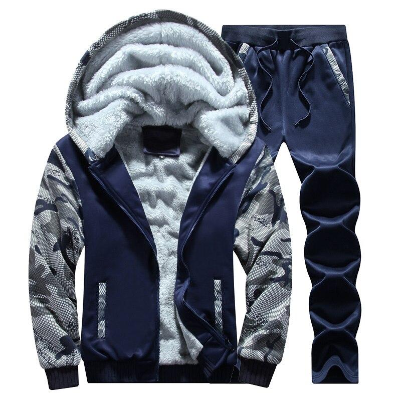 Men Set Casual Winter Warm Thick Hooded Jacket+Pants 2PC Sets Men Inner Fleece Hoodies Zipper Tracksuit Male Sports Suit Outwear