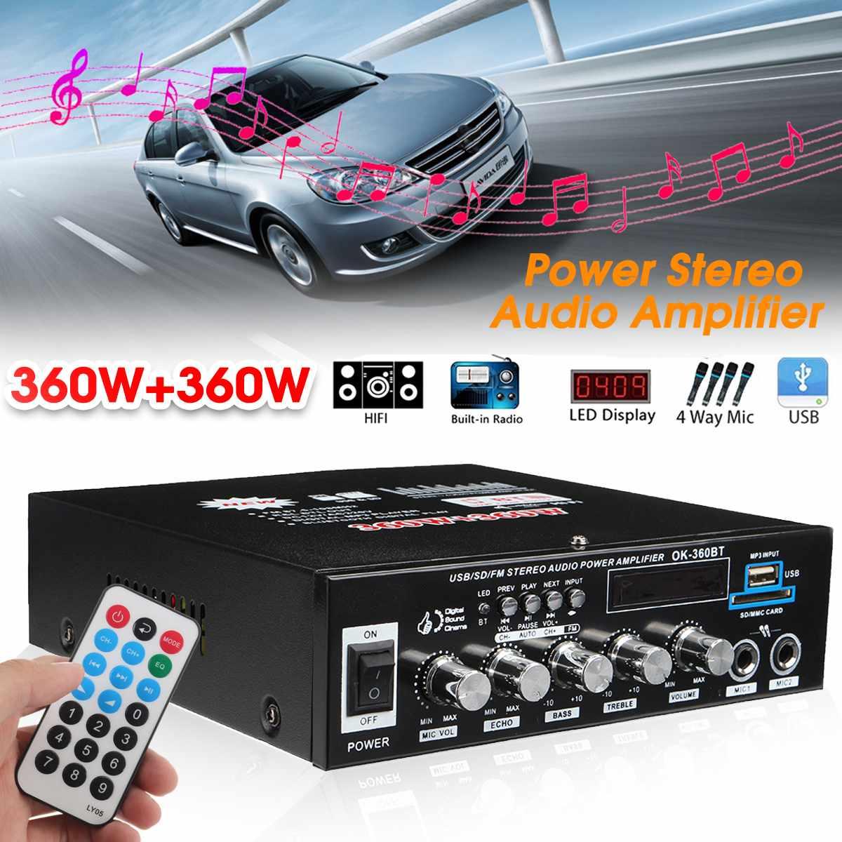 CLAITE 360 Вт + 360 Вт мощность стерео аудио усилитель 12 В/220 В музыкальный плеер bluetooth FM USB SD домашний кинотеатр усилители вечерние кинотеатр KTV