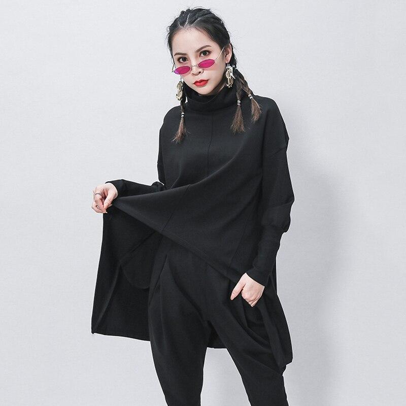 [EAM] Loose Fit Black Irregular Sweatshirt New Turtleneck Long Sleeve Women Big Size Fashion Tide Spring Autumn 2020 1Z320 5