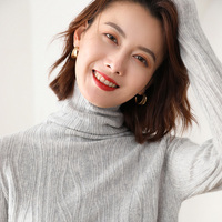 2019 hot sale 100% goat cashmere high quality Women sweater Turtleneck Pullover Knitted Sweaters Winter Elastic loose sweater