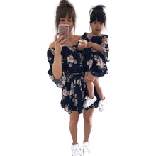 Family Look Mother Daughter Matching Outfits Off Shoulder Floral Dress Summer Chiffon Girl Women Boho Dresses Sundress