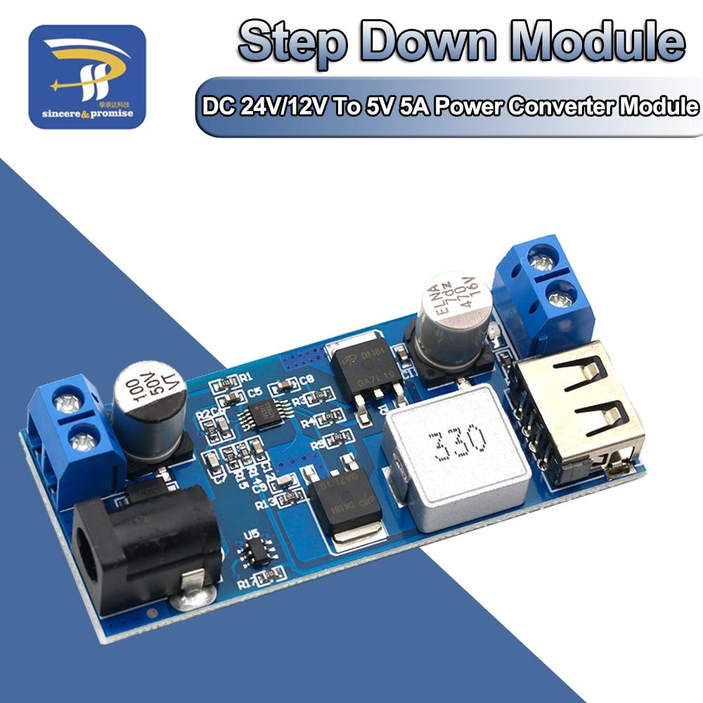 Регулируемый понижающий преобразователь источника питания USB LM2596S, 24 В/12 В в 5 А, зарядный модуль для телефона