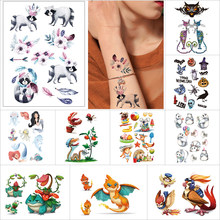 Tijdelijke cartoon tattoo stickers snake vlinder schildpad firedragon mermaid stripfiguur Halloween Pompoen Fake tattoo(China)