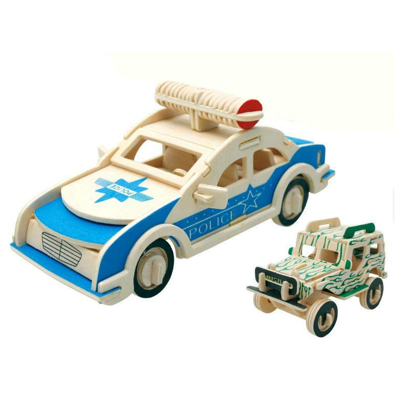 Free delivery,The traffic tools 3D Wooden puzzle,Police Wagon and cars puzzles,toys for children,logico teaching AIDS,