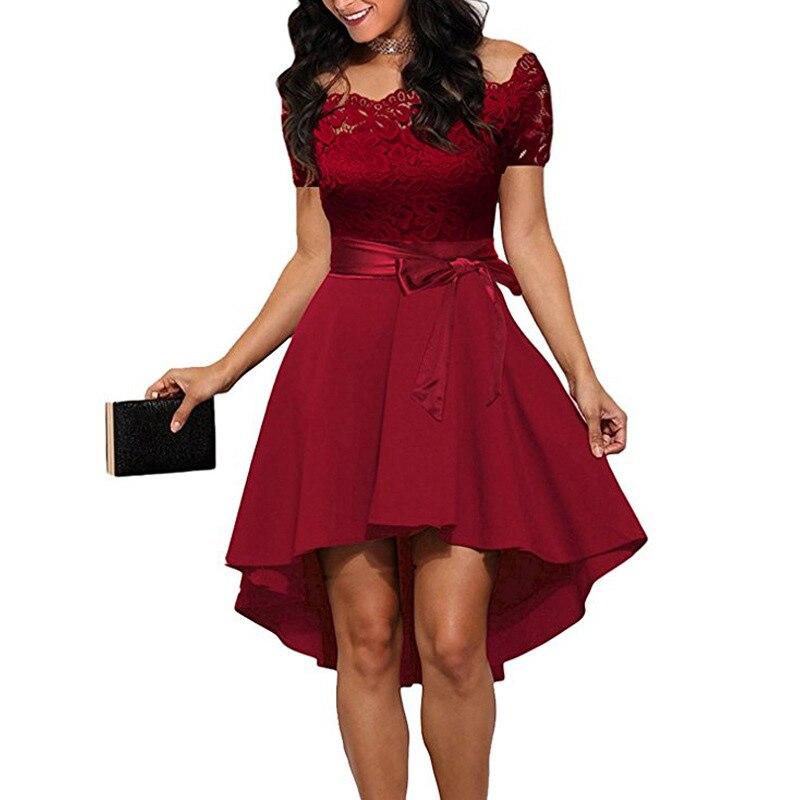 Элегантное красное кружевное платье, женское лоскутное платье с вырезом лодочкой, коротким рукавом, поясом, туника, платье 2020, летние женски...