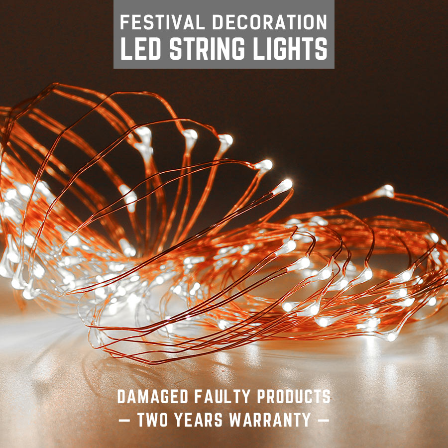 Christmas Fairy Light Copper Silver Wire String lights 2M 5M 10M Multi Coloured Lamp Waterproof LED lamps Holiday By AA Battery