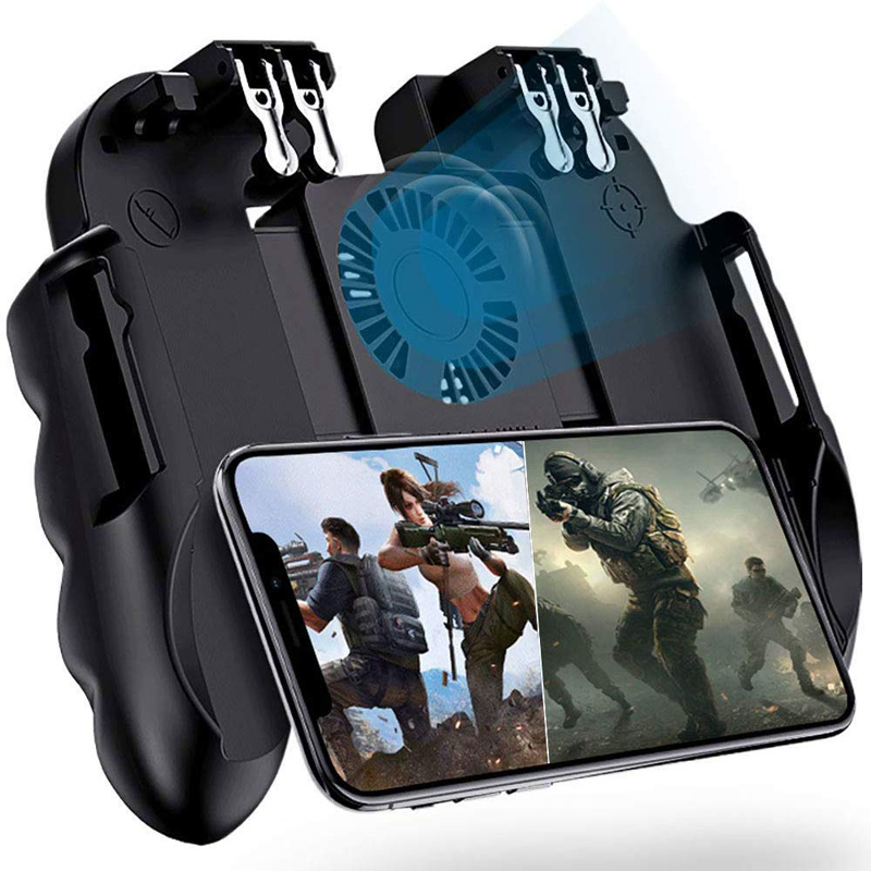 4 Trigger Mobile Game Controller With Cooling Fan Charging Gaming Grip Gamepad Mobile Controller Trigger For 4.7-6.5