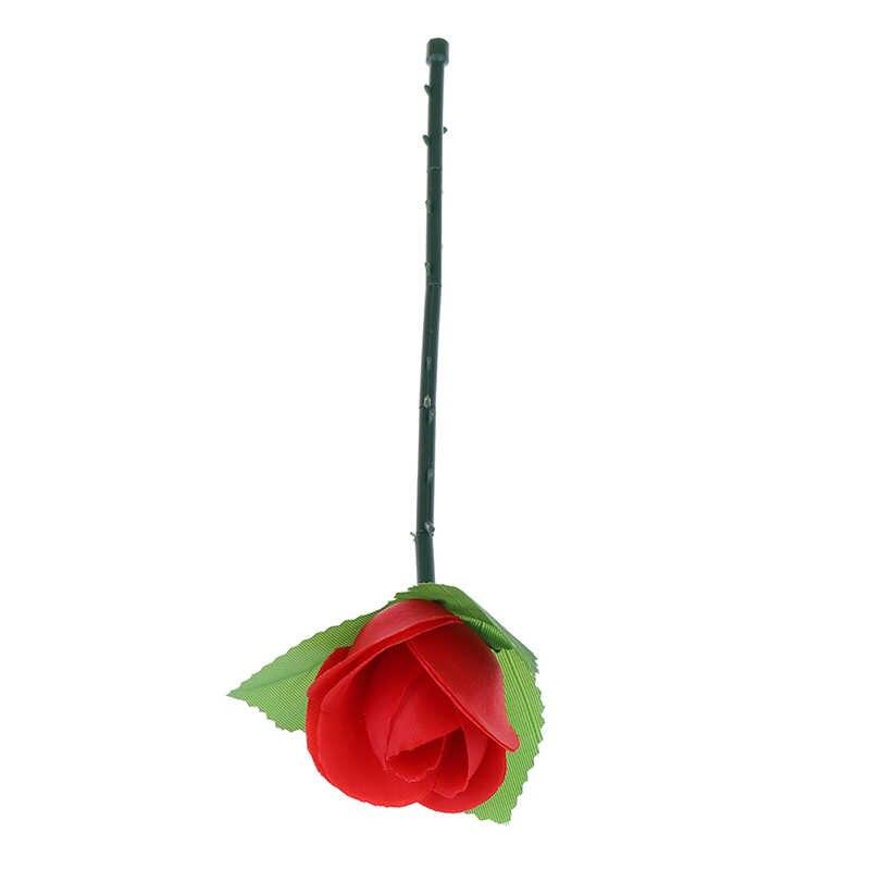 Dobrar rosa vermelha truques mágicos flor aparecendo close-up palco ilusão de rua adereços brinquedos surpresa para o seu amante