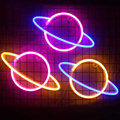 LED Neon Lampe Elliptischen Planeten Geformt Zeichen Neon Licht Batterie Betrieben Hause Dekorative Wand Licht Party Raum Beleuchtung