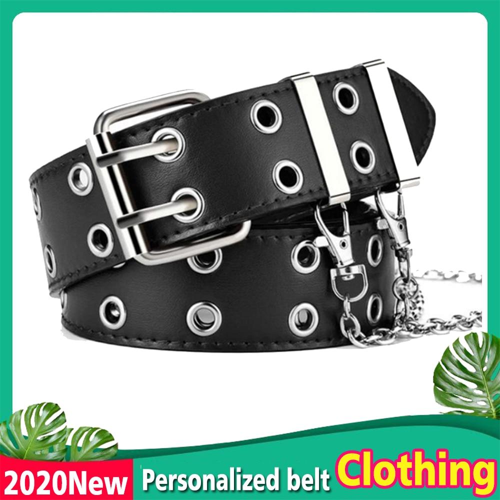 New Ladies Belt Leather New Punk Style Fashion Pin Buckle Jeans Decorative Belt Chain Luxury Brand Chain Belt Women